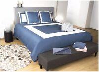 Karl Lagerfeld Design Bettwäsche blau weiß 240 x 220 cm 100% Baumwollsatin NEU