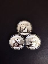 2015 2016 2017 CHINA 3 PANDA SILVER COINS LOT 1 OZ 30 GRAM 10 YUAN MINT #7