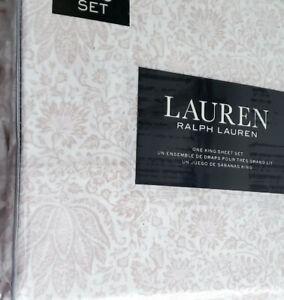 Ralph Lauren King Sheet Set Paisley Pink Cotton XDeep Fitted