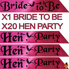 BLACK & PINK HEN NIGHT PARTY DO BRIDE TO BE SASH GIRLS NIGHT ACCESSORIES NBC