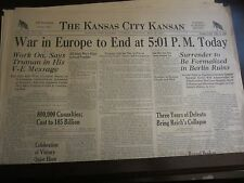 May 8 1945 Kansas City Kansan Newspaper VE- Day War in Europe to End at 5:01 PM