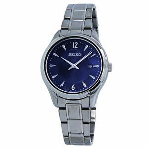 Seiko Noble Quartz Blue Dial Stainless Steel Ladies Watch SUR425