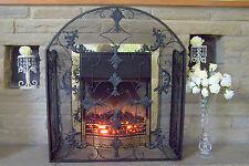 3 Panel BLACK VINTAGE ANTIQUE STYLE FIRE GUARD FIRE SCREEN/FIREGUARD