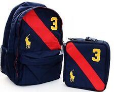NWT RALPH LAUREN POLO Big Pony Backpack Book Bag Rucksac Gym Sport + Lunchbox