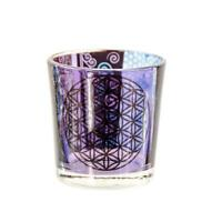 Flower of Life - Purple Glass Votive Candle Holder