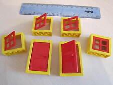 LEGO 6 grandes portes et fenêtres avec cadres et volets-jaune et rouge très bon état