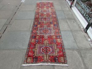 Antique Worn Traditional Hand Made Oriental Red Wool Long Narrow Runner 300x81cm