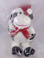 "Animal Fair Cow Christmas Plush Ball Bros 15"" Black White Santa Hat Scarf"