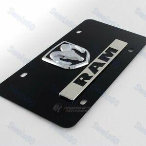 Au-Tomotive Gold DODGE RAM Logo Front Black Stainless Steel License Plate Frame