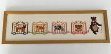 Whimsical Child's Circus Train in Completed Cross Stitch Picture Bear Elephant