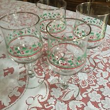 CHRISTMAS BEVERAGE STEM GLASSES (4) DECO WITH CHRISTMAS GREENERY AND RIBBONS VGC