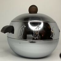 Vintage West Bend Penguin Chrome Wooden Handles Insulated Ice Bucket Vtg Tongs