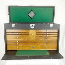 Vintage 1940s Gerstner & Sons Machinist Tool Chest Box 52 Leatherette Oak