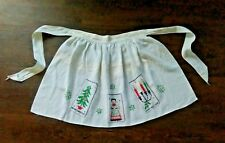 VINTAGE 1950's MID CENTURY CHRISTMAS HOLIDAY HALF APRON Embroidery Jewels GOLD