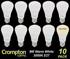 10 x LED 9W Pearl Light Globes / Bulbs A60 Edison Screw E27 Warm White 3000K