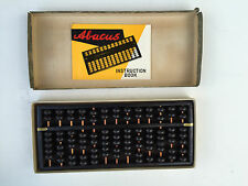 """vintage 1957 wooden ABACUS and INSTRUCTION BOOK by Mr. Y Fujimoto 8"""" X 5"""""""