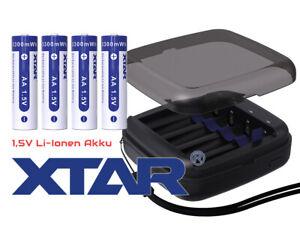 Xtar BC4 – Ladegerät + 4x AA (Mignon) LR6 1,5V  Li-Ion  Akkus