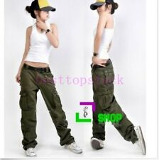 New Womens Cotton Casual Combat Pocket Long Loose Dance Pants Casual Trousers UK