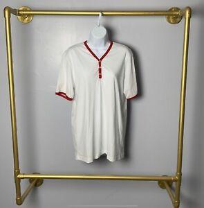 New American Apparel Y Neck Ringer Henley Tee Unisex Men Women Large Red White