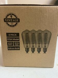 Edison Bulb Vintage Light Bulb 40w Retro Old Fashioned E27 ST64 Screw ,4in1 pack