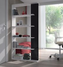 Aida Living Room 5 Tier Bookcase Room Divider Display Unit White with Black