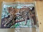 Vintage Leopard Cotton Cross Stitch Tapestry  PART COMPLETED No threads included