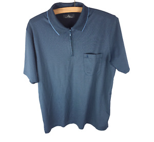 Mens Ragman Blue Soft Knit Cotton Casual Short Sleeve Polo Shirt Size M Used