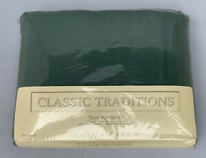 NIP Classic Traditions Forest Green Twin Flat Sheet Vintage JC Penny USA