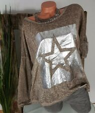 NEU  ITALY LEICHTER BOXY CUT PULLI OVERSIZE ★ STERN ★ SILVER PRINT TAUPE 38-42