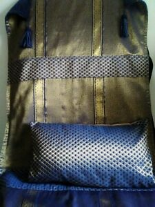 Navy and gold Indian boho hippy festival throw and cushion set