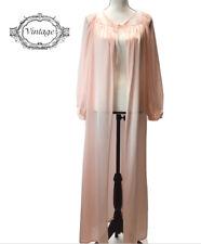 Vintage Jcpenney Pink Nylon Full Length Long Sleeve Robe Size Medium 12-14