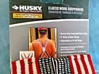 NWT HUSKY Suspenders  American Flag Patriotic Elastic Work  Heavy Duty Adjust
