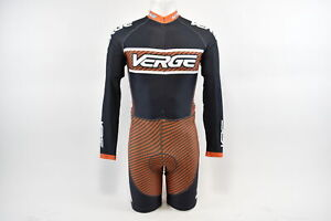 Verge Men's XS Elite Euro L/S Lycra Cycling Skinsuit, Black/Orange