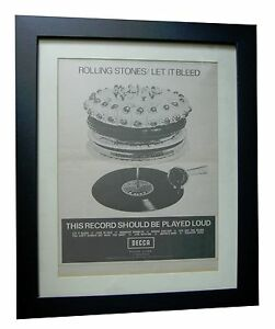 ROLLING STONES+Let It Bleed+POSTER+AD+RARE ORIGINAL 1969+FRAMED+FAST GLOBAL SHIP