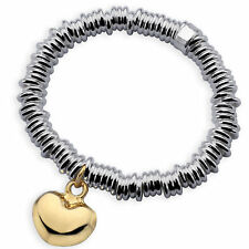 S/F Solid 18K Gold Heart Charm Bracelet Bangle Genuine Real 925 Sterling Silver