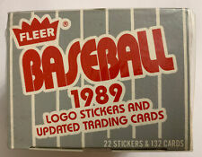 NEW FACTORY SEALED FLEER BASEBALL 1989 LOGO STICKERS AND UPDATED TRADING CARDS