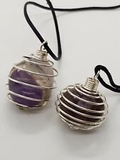 2 Tumble Caged Amethyst Pendants,on Black Cord Necklace Pendants