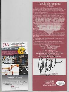 1996 Dale Earnhardt Sr. Autograph Winston Pole Night Ticket JSA COA
