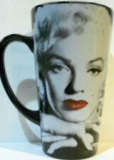 "MARILYN MONROE BLACK AND WITH WITH RED LIPS 6"" TALL CERAMIC LATTE MUG NEW"