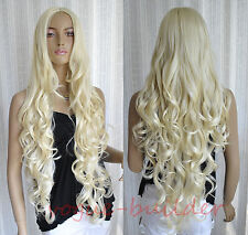 "35"" Long Blonde Spiral Wavy Cosplay Hair Wig 613"
