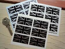 Union Jack Black & white/clear/silver Clásico car/bike pegatinas 50mm Set De 6
