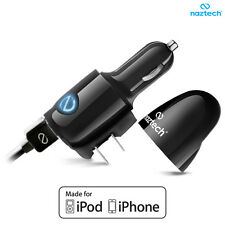 Naztech 2.4A 3-in-1 Dual Rapid Car Charger & Wall Charger for iPhones (Black)