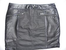 H&M Mini-Jupe Bi-Matière Jean Noir et Simili Cuir Poches Zippées T38