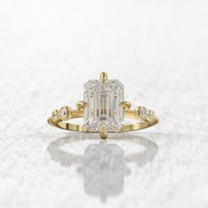 2 ct emerald cut 8.5x6.5 mm & 4 round cut diamond Ring Hallmark 14k Yellow Gold