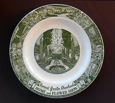 CLEVELAND OHIO Souvenir Plate HOME and FLOWER SHOW 1952 Green Kettlesprings