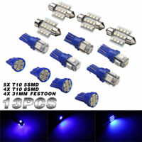 13x LED Light Interior Package Kit Pure Blue For Dome License Plate Lamp Bulb **