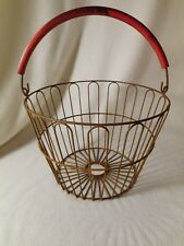 Vintage Egg Basket-Smaller Rustic Plant Basket-Covered Bale Handle Apple Basket