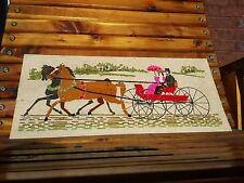 Vintage Yarn Art Picture - Horse and Carriage - Holiday - Perfect condition!