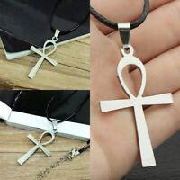 Runde echtes Leder Halskette ägyptische Ankh Kreuz Anhänger Halsreif Nizza K4A0