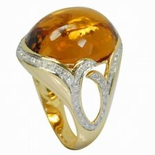 De Buman 18K Yellow Gold 20ctw Citrine & Diamond Solid Ring, Size 7
